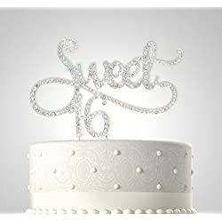 Rubies & Ribbons Sweet 16 Metal with Rhinestones Birthday Cake Topper Bling Party Decoration with Gift Box (Silver)