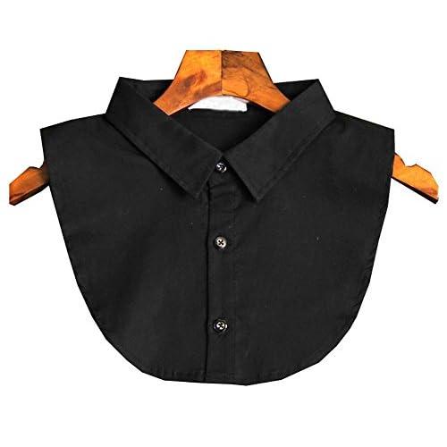 Chemise blanche classique décolleté demi-shirt faux collier col faux mode, noir