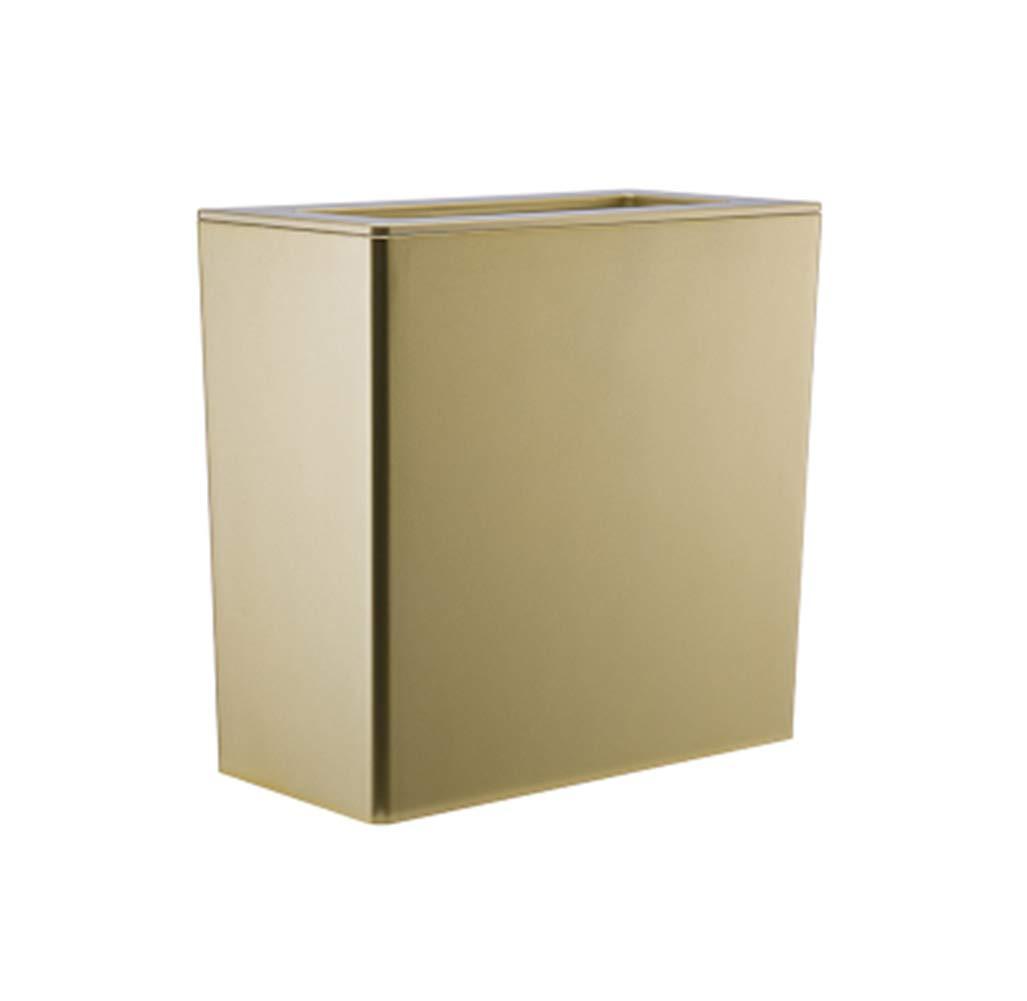 Top Estore European Simple Trash Bin Rectangular Household Large Wastebasket (Gold)