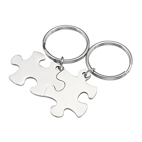 Personalized Master 2pcs Stainless Steel Jigsaw Puzzle Piece Matching Pendant Keychain Set Couple Jewelry