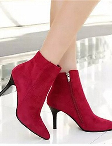 Eu39 Puntiagudos Xzz Uk5 Semicuero Negro 5 us7 us8 Casual Zapatos Gray Stiletto Cn38 Eu38 De Cn39 Gris Mujer Black Botas 5 Tacón Rojo Uk6 nrw6AXrq1