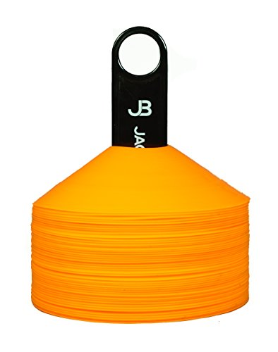 Jagged Box Pro Disc Cones (Set of 50), Includes Cone Holder and Bag - Flexible Highly Visible Orange Cones, Perfect for Soccer, Football, Any Indoor and Outdoor Sports Training and Marking Needs -