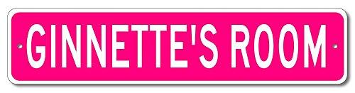 """Ginnette's Room - Kids Name Sign, Ginnette Room Aluminum Novelty Door Signs For Girls - Pink - 9""""x36"""""""