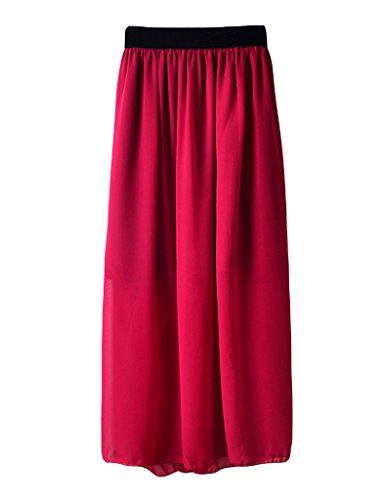 pliss Jupe Rouge Vineux Haute Longue Femme Taille Legou wSnPXq6A7S