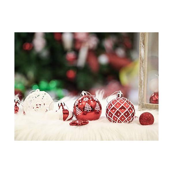 Victor's Workshop 70 Pezzi di Palline di Natale, 3-6 cm Tradizionali Ornamenti di Palle di Natale Infrangibili Rossi e Bianchi per la Decorazione Dell'Albero di Natale 5 spesavip