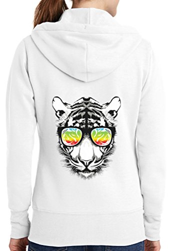 Womens Retro Tiger Full Zip Hoodie, White, 4X