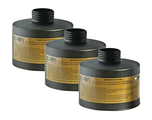 - Filter, Gas Mask, Avon, CBRN FM12, Black, 3 Pack