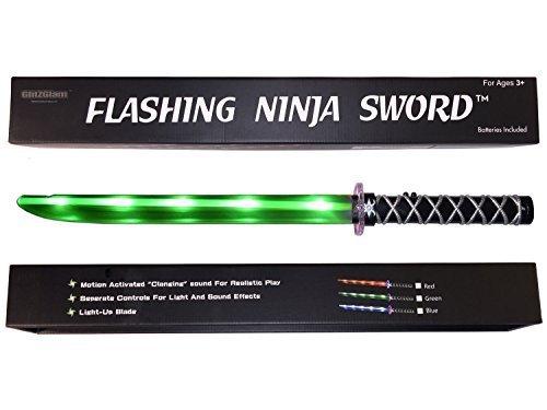 GlitZGlam Epée Lumineuse (LED) Ninja De Luxe avec Effet Sonore Métallique Lors de Détection de Mouvements - Vert