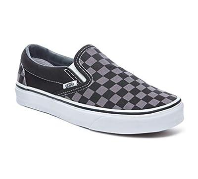 Vans Unisex Classic (Checkerboard) Slip-On Skate Shoe (9.5 Men`s/11 WO`S, BLK - Black Checkboard, Pewter)