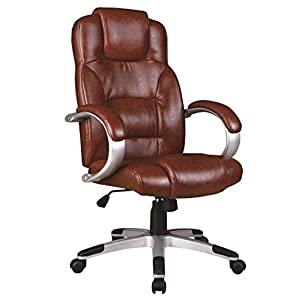 Henna Brown Chrome Base Executive Office Chair With High Back Rise Tilt
