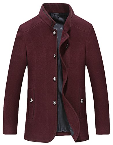 - Youhan Men's Classic Single Breasted Wool Blend Peacoat (X-Small, Wine Red)