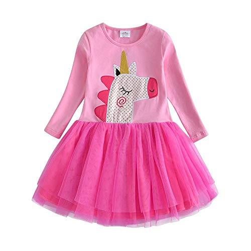 VIKITA Toddler Girl Horse Dress Winter Long Sleeve Tutu Party Dresses for Girls 3-7 Years, Knee-Length (LH4559, 5)
