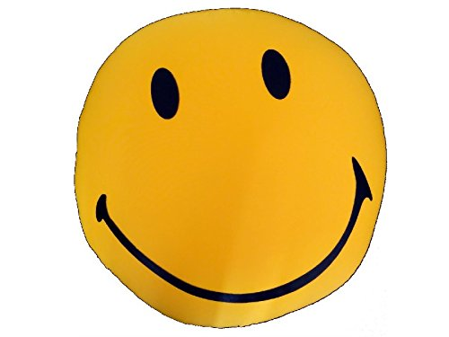 Tache Home Fashion TABSSYFCUSH Have A Nice Day Expressive Micro Bead Face Cushion, 12x12, Gold by Tache Home Fashion