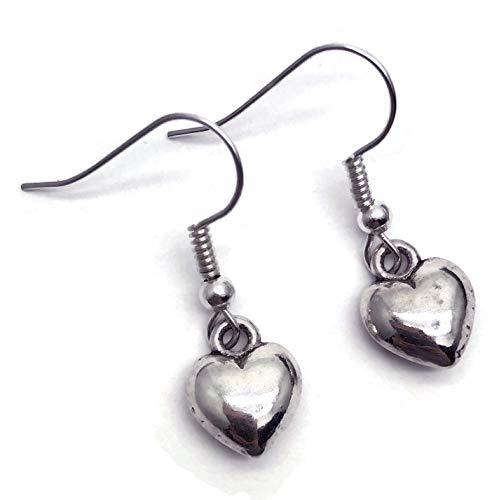 Puffy Heart Charm Dangly Earrings - Tibetan Beads on Nickel free Silver Tone Hooks
