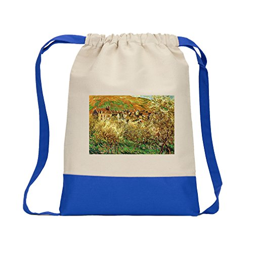 Flowering Apple Trees (Monet) Canvas Backpack Color Drawstring - Royal Blue Flowering Apple