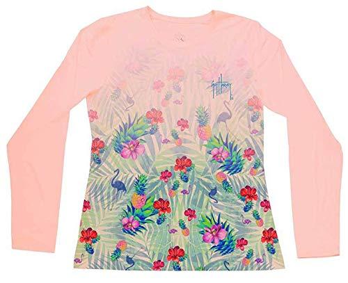 (Guy Harvey Women's Tropical Dream Long Sleeve Performance Shirt, Rose, S)