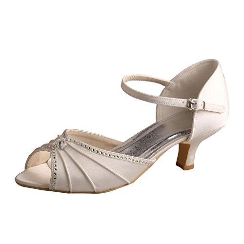 wedopus MW033B puntera abierta de la mujer mid-heel Mary Janes Rhinestones boda fiesta sandalias marfil