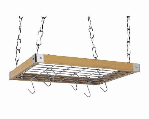 (Concept Housewares PR-40293 Hardwood Square Hanging Pot Rack, Natural)