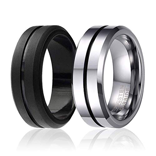 SOLEED Twins - Set of 2-1 Black Tungsten Wedding Band, Middle Line with Brushed Top Beveled Edges and 1 Black Silicone Rubber Wedding Ring for Men, 8mm, Size 7