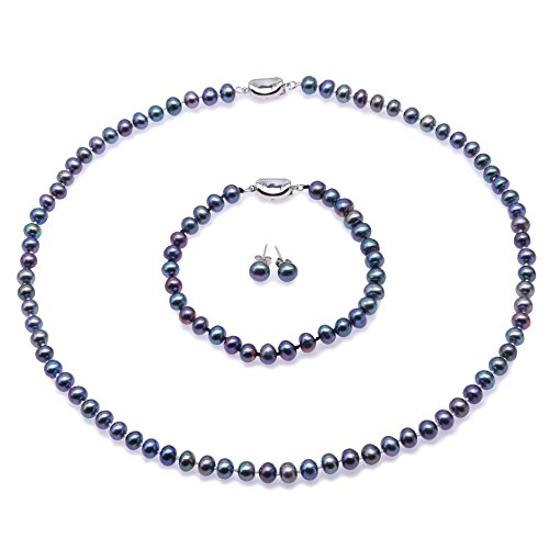 JYX Pearl Necklace Set 6-7mm Blue Freshwater Cultured Pearl Necklace Bracelet and Earrings Set