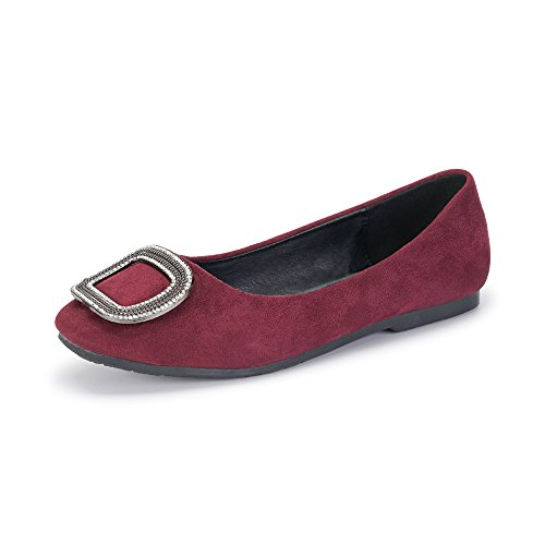 Women's Closed Toe Slip On Velvet Ballet Flat Shoes With Crystal Metal Buckle Wine Red Tag 39 - US (Velvet Ballerina Women Flat Shoes)