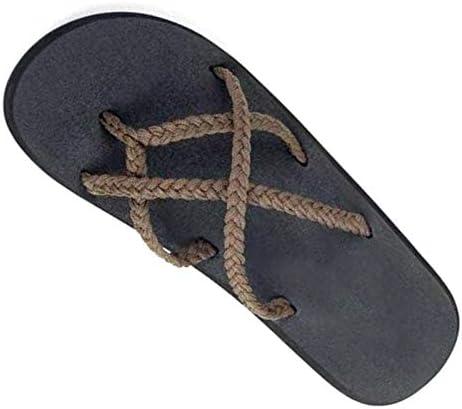 ユニセックススリッパ、ストローローヒールのクリップつま先、麻フラットフリップフロップ、シンプルな滑り止めの防汗サンダルスリップ、快適な耐久性,真鍮,41