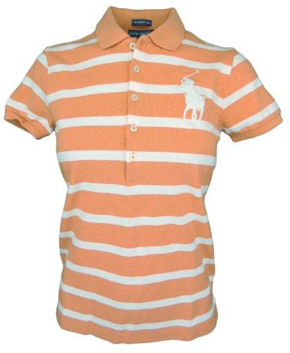 Ralph Lauren Women The Skinny Polo Striped Big Pony Logo T-shirt (L, Orange/white)