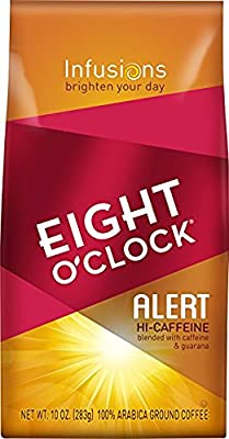 Eight O'Clock Ground Coffee - Alert Hi-Caffeine - 10 Ounce bags ( Pack of 3 )