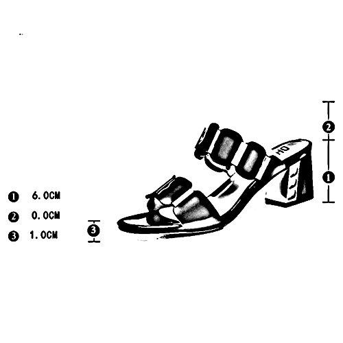 Moda Altura color Femenino Cm Zapato Zapatillas Negro Del 6 Lixiong Tacón Talón De uk4 2 Verano Tamaño cn36 zapatos Blanco Fuera Acogedor Casa 230 Colores Grueso Eu36 HwtqEEPW
