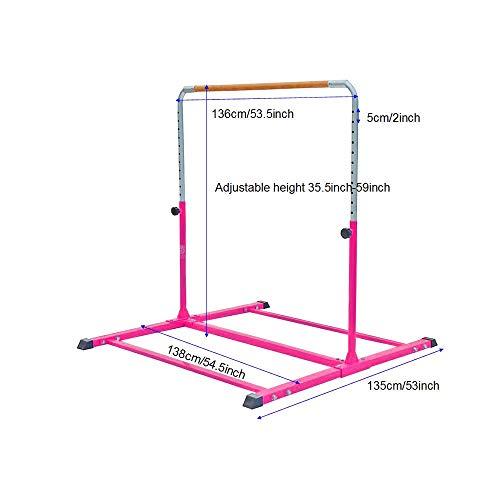 Modern-Depo Adjustable Junior Kip Bar 3'- 5' Gymnastics Horizontal Bar for Kids Home Training, Beech Wood Crossbar, Pink by Modern-Depo (Image #5)