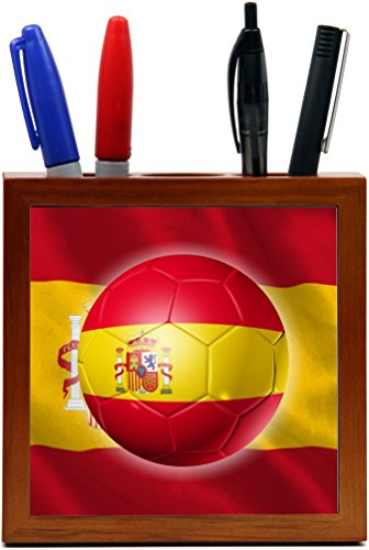 Rikki Knight Russia World Cup 2018 Spain Team Football Soccer Flag Design 5 inch Tile Wooden Tile Pen Holder by Rikki Knight