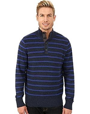 Men's 9 Gauge Shaker Knit Botton Mock Sweater Classic Navy Sweater XL