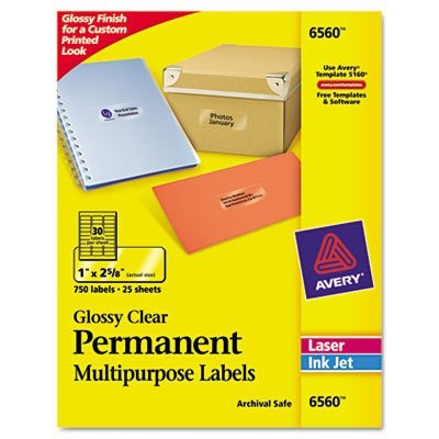 Avery Glossy Clear Permanent Multipurpose Labels, 1 x 2.625 Inches, Pack of 750 (6560)