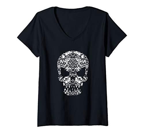 Womens Day of the Dead Skull - Dia de los Muertos  V-Neck T-Shirt ()