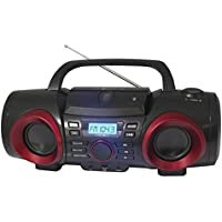 NAXA Electronics NPB-267 MP3/CD Boombox with Bluetooth (Red & Black)