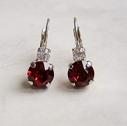 (Stylish Round Crystal Studded Top Leverback Earrings Simulated Ruby July Birthstone Gift Idea)