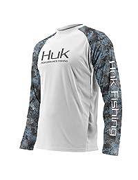 Huk Subphantis Double Header Vented Long Sleeve Shirt, White/SubPhantis Glacier, Medium