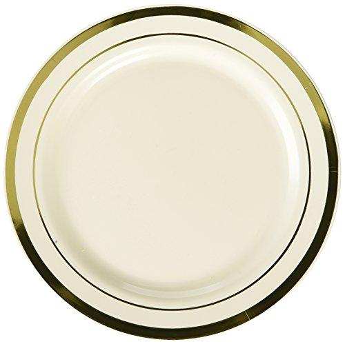 Amscan Premium Plastic Round Plates | Cream, Gold | 7.5