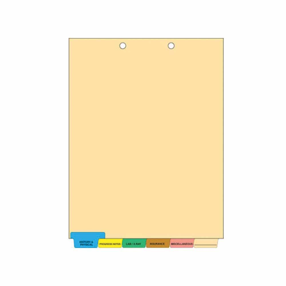 Filepro CD49 Chart Divider, Bottom Tab Position, #1-6 1/6 Cut, 6 Titles, Mylar Reinforced Tab, 8-1/2'' x 11'', 100# White, Assorted Colors (Pack of 65)