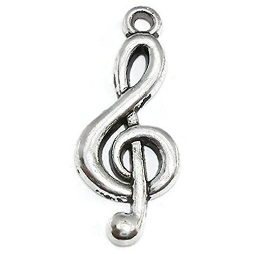YYaaloa 100pcs 25x10mm G Clef Symbol Music Note Charms Pendant for Crafting,Jewelry Making Accessory(100pcs Music Note Charms Pendant silver)