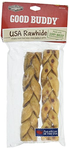 Castor & Pollux Good Buddy Rawhide Braided Sticks Dog Chew 7″ — 2 Pack For Sale