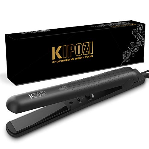 KIPOZI Hair Straightener 1 Inch Professional Ceramic Flat Iron with Adjustable Temperature, Instant Heat Up, Dual Voltage for Travel,Black
