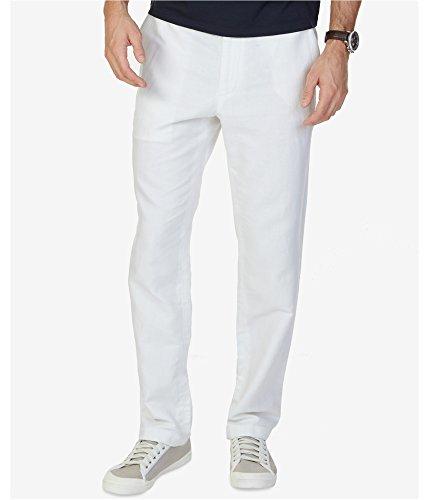 - Nautica Men's Flat Front Linen Pant, Bright White, 42W x 32L