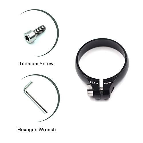 corki Bicycle Bike Seatpost Clamp Bike Tube Clipwith Titanium Screw 34.9mm -Black ()