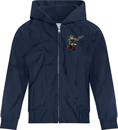 Price comparison product image BSW Girl Make It Rain Song of Storms Zelda Ocarina of Time N64 Zip Hood MED Navy