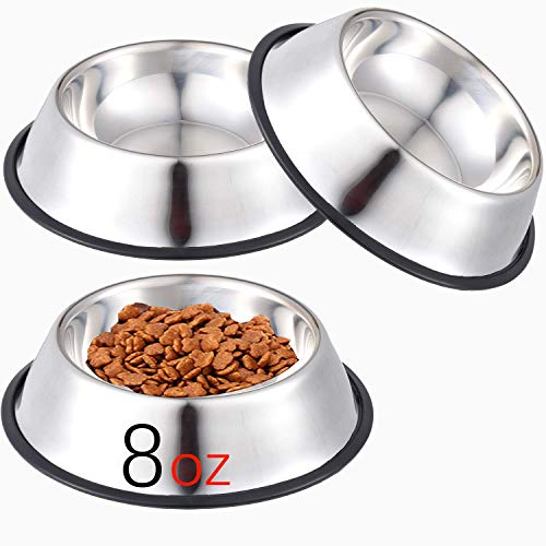 NAIYO Dog Bowl Stainless Steel Dog Bowl with Rubber Base for 8oz 16oz 26oz Small/Medium/Large Dogs,Pets Feeder Bowl and Water Bowl Perfect Choice,Dogs and Kittens