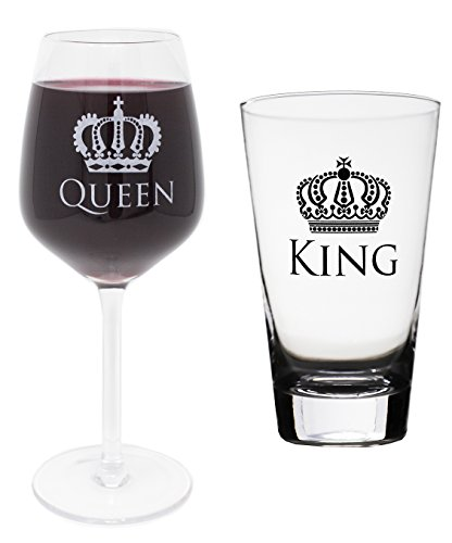 King and Queen Beer Pint Glass Stem Wine Glass Combo by Momstir - Wedding, Engagement, Housewarming, Anniversary, Newlyweds, Couples, Parents, Mom, Dad, Him or Her, Mr Mrs