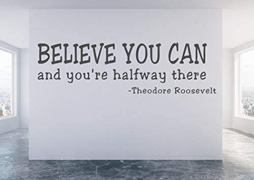 Tiukiu Believe in Yourself Wall Decal Believe in Yourself Decal History Classroom Wall Decal Believe You Can and You're Halfway There Decal 22 Inch in Width