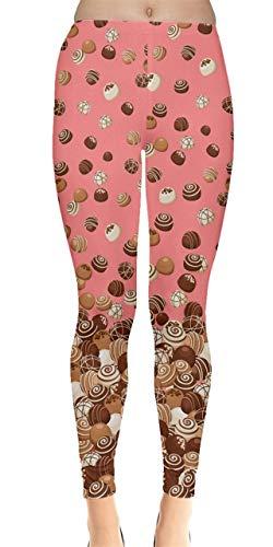 CowCow Womens Chocolates Fall Dessert Leggings, Pink - 3XL