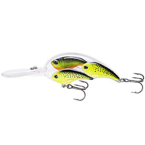 COM4SPORT 7.5cm 23g Crankbait Hard Fishing Lures with Lifelike Group Fish Design, Perfect for Saltwater Freshwater Bass Trout Carp Walleye Crappie Bluegill (Fluorescent Green)